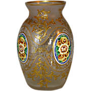 Moser Glass Bohemian Vase With Pansies