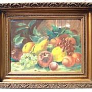 American Victorian Still Life of Fruit, in Pastel