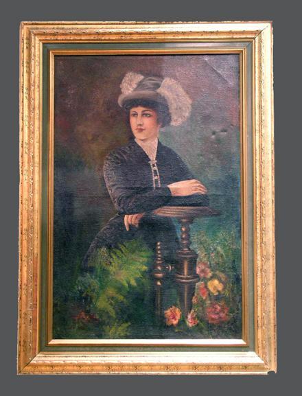 Large Victorian Portrait Of A Woman