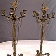 Dramatic French Empire Pair Antique Bronze Candelabra