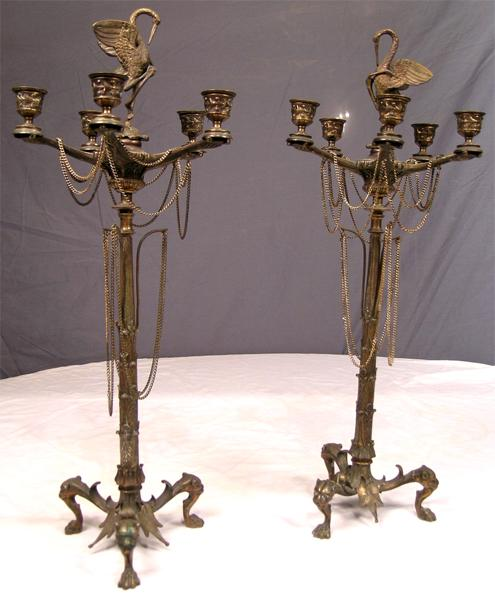 Dramatic French Empire Pair Antique Bronze Candelabra