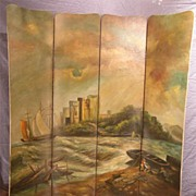 Antique Hand Painted Folding Screen