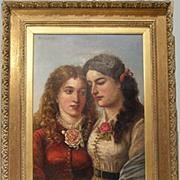 Large 19th Double Portrait Oil Painting