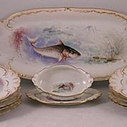 19th Century Limoge Fish Set