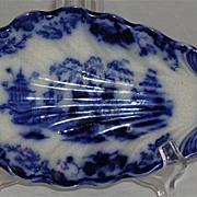 J & G Alcock Flow Blue Dish Scinde Pattern