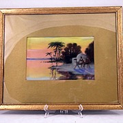 Circa 1900 Orientalist Pastel Sunset With Camels