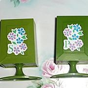 Unusual Shape Green Plastic Shakers