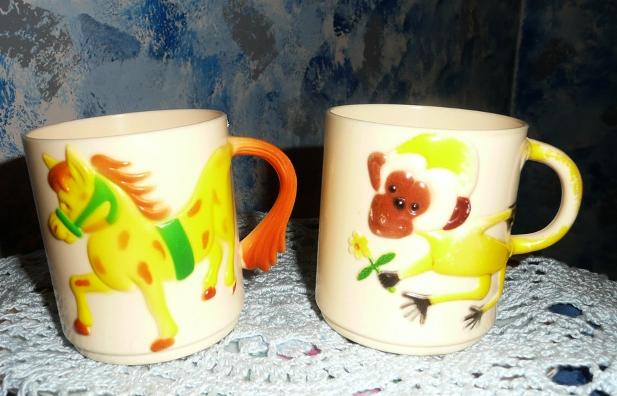 1950's Plastic Baby Drinking Cups