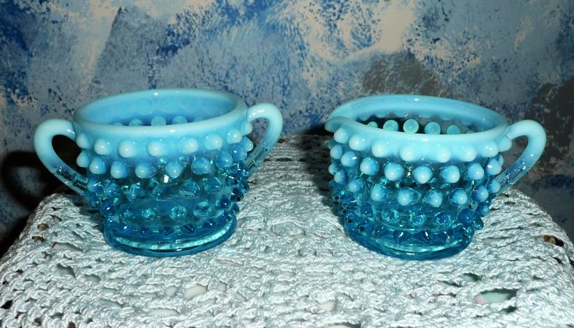 Fenton Blue Opalescent Hobnail  Creamer and Sugar Set