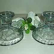 Stunning Sowerby Ice Blue Glass Candlesticks Set 1920-1930