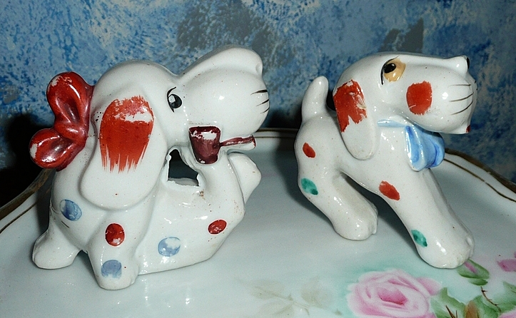 Pair of Two Vintage Rich  Dogs One Smoking!