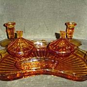 Amber British Deco  Glass Dressing Set