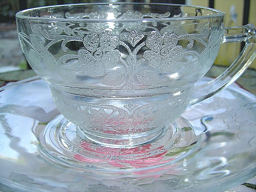 Depression  Clear Glass  Cup Duo