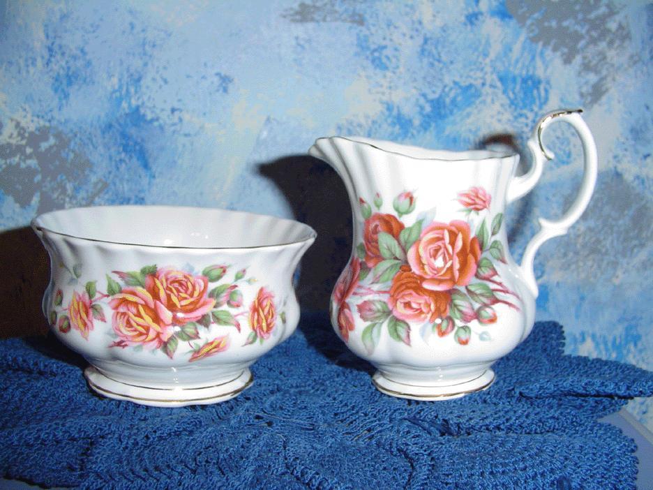Royal Albert 'Centennial Rose' set of Creamer and Sugar