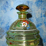 Amber Glass Hand-Painted Glass Liquor Bottle