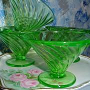 Uranium Glass set of Cups/Dessert Dishes Swirl Pattern