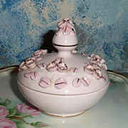 'Lefton's' Pink Flowers Powder Box with Rhinestones