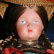 'Black Forest Girl' German TURTLE Mark Celluloid Doll