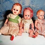 Lot of 3 Vintage  House Hard Plastic Dolls