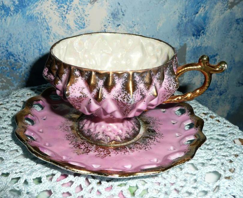 Beautiful Pink/Gold Color 'Royal Halsey' Coffee Cup Duo