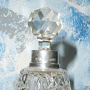 SALE Beautiful Hobnail Cut  Glass English  Sterling  Silver Perfume Bottle