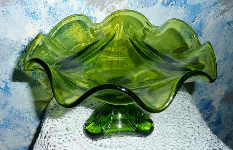 1960's Gorgeous Green Glass Pedestal Dish