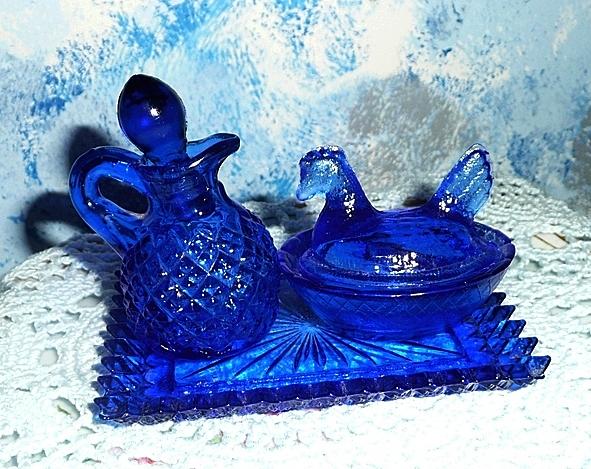 Cobalt Blue  Glass Personal Cruet Set