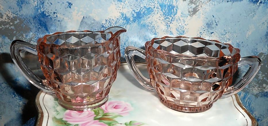 Holiday Pink Depression Cubed Pattern  Sugar and Creamer Set  Jeannette Glass