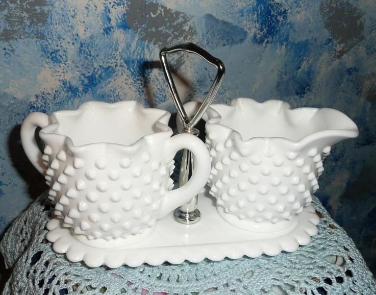 Fenton Hobnail Milk Glass Set of Creamer, Sugar with Tray