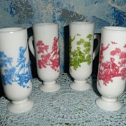 Milk Glass Set of Four Liquor Glasses