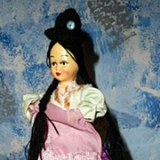Pretty Composition Head Hand-Painted  Vintage Bolivian Girl