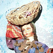 Beautiful  Vintage Cloth Face  Doll from Italy