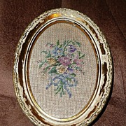 Vintage Oval Gold Petit-Point Flowers Picture