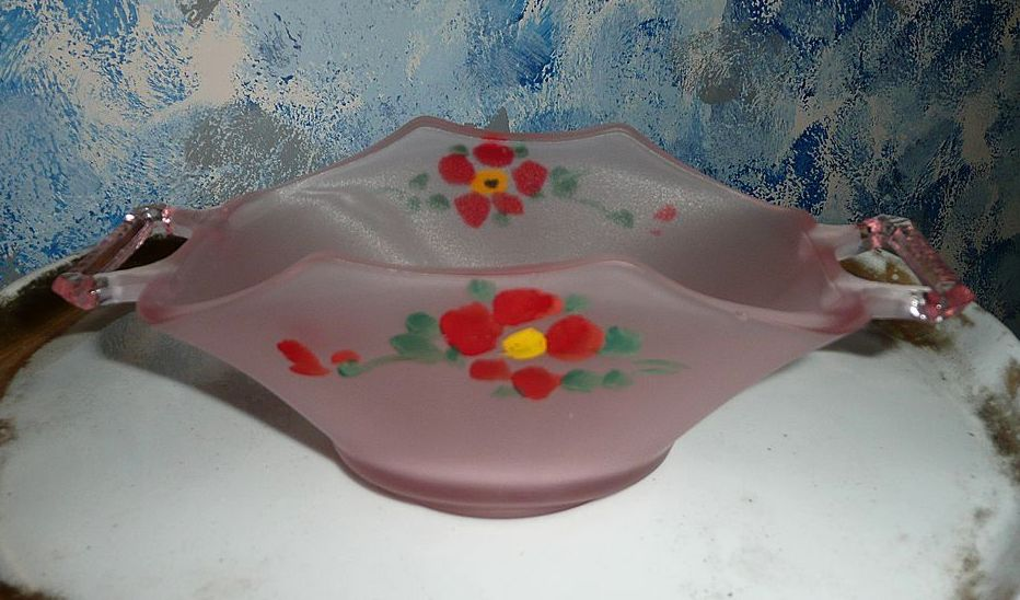 Hand Painted Satin Pink Dish with Handles