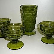 1950's American  Cubist Whitehall  Green Tumbler & Sherbet Glasses