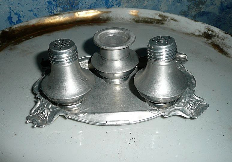 Very Old Aluminum Salt and Pepper Shakers with Tray and  Toothpick Holder