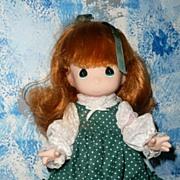 """Vintage """"Precious Moments' Green Polka Dots Doll"""