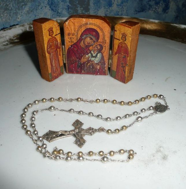 Vintage Silver Color Holy Rosary with Wood Icon