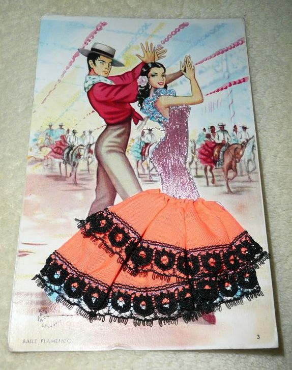 Vintage Spanish  Flamenco Embroidered Post Card