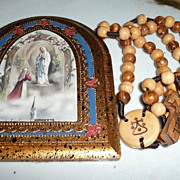 Fatima Wood Plaque with Mt. Carmel Olive Wood Rosary