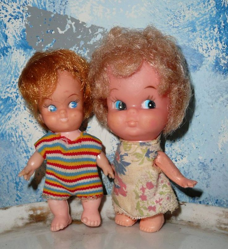 Cute Lot of Two Little Dolls from  the 1950's
