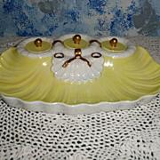 Vintage Italian Porcelain  Yellow  Inkwell