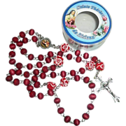 Vintag e 1980's Saint Therese de Lisieux  Roman Catholic  Rosary  Smell Roses