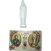 Vintage Lot of Card and Statue of Our Lady of Lourdes and the Miraculous Medal