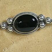 Sterling Silver & Black Onyx Cabochon Pin, Nice Details