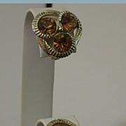 Vintage Kramer Clip Earrings w/Topaz Color Rhinestones