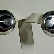 Vintage Mexican Sterling Silver & Black Enamel Post Earrings