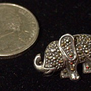Vintage Judith Jack Elephant Pin In Sterling & Marcasites, Tiny!
