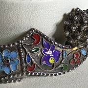 Vintage Shoe Pin w/PomPom and Enamel Decoration on Silver