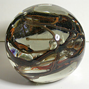Glass Paperweight, Unsigned, Multicolor Interior Vines & Bubbles